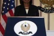 Condolleezza Rice behind Presidential Podiums