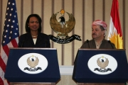 Rice and Barzani behind Presidential Podiums