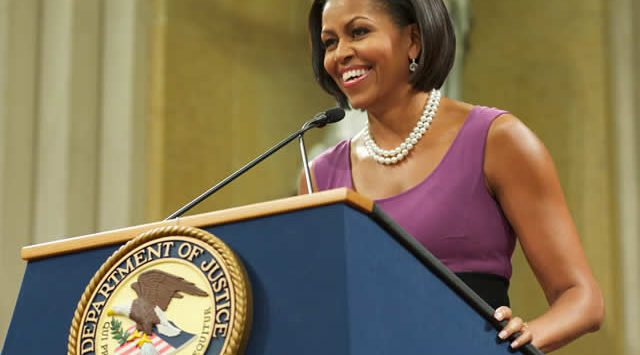 Former FLOTUS, Michelle Obama, speaking from our Presidential Podium.
