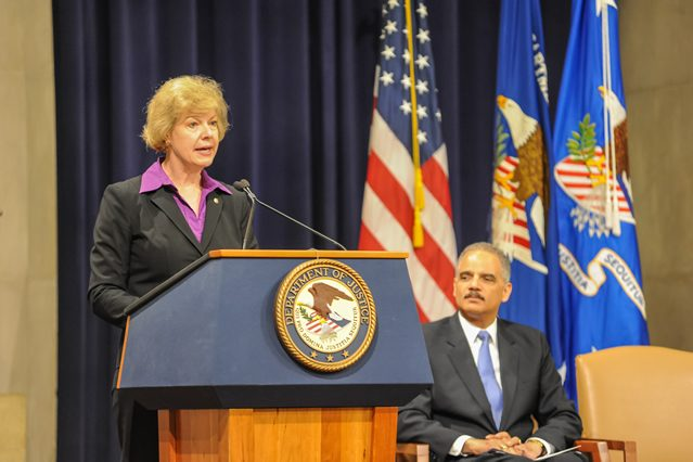 US Senator Tammy Baldwin of Wisconsin behind our Presidential.