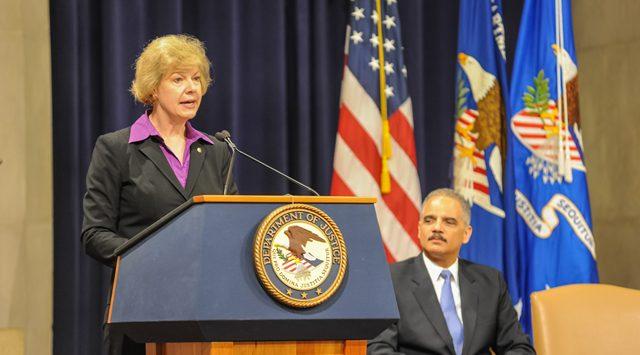 US Senator Tammy Baldwin of Wisconsin behind our Presidential.