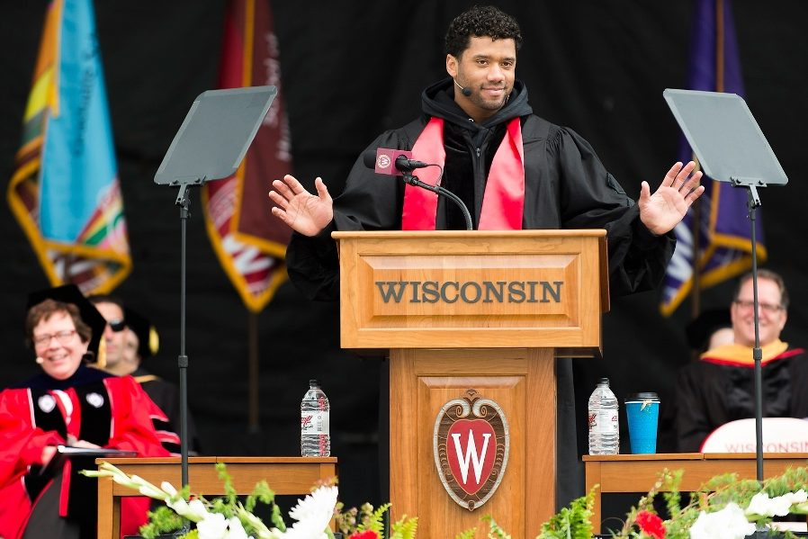 Seattle Seahawks Quarterback Russell Wilson - 2016 Commencement Speech University of Wisconsin behind our Counselor.